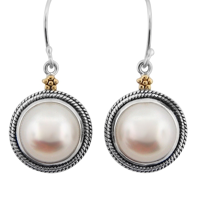 Meredith Leigh 14k Gold And Sterling Silver Fw Pearl Earrings 10 Mm