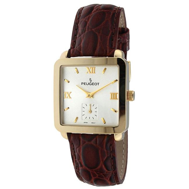 Peugeot Men's Goldtone Leather Strap Watch