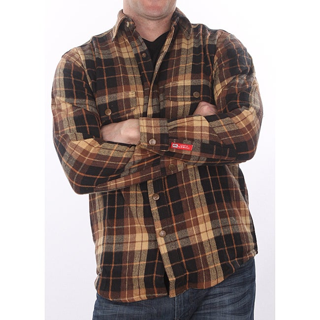 Farmall ih men 39 s 39 brawny 39 brown plaid flannel shirt free for Brown and black plaid shirt