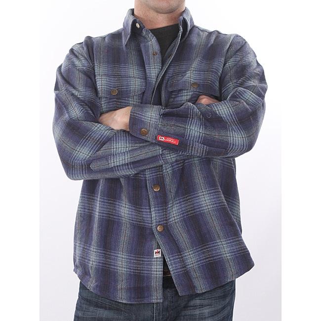 Farmall IH Men's Big/Tall 'Brawny' Navy Plaid Flannel Shirt