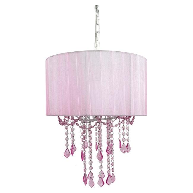 Tadpoles Pink Shaded 1-light Chandelier