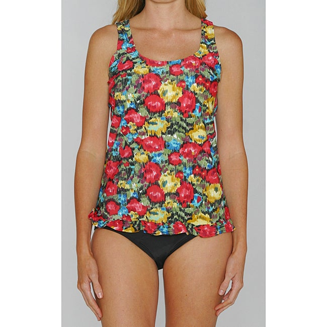 Island Pearls Missy's Red Floral 2-piece Tankini
