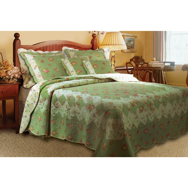 Greenland Home Fashions Bliss Sage 3-Piece Twin-size Quilt Set