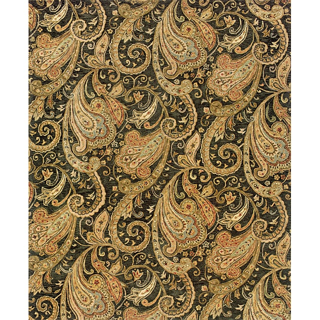 "Evan Black/ Gold Transitional Area Rug (8'3 x 11'3) - 8'3"" x 11'3"""