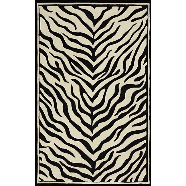 Hand-tufted Monrovia Black/ Ivory Area Rug (8' x 10')