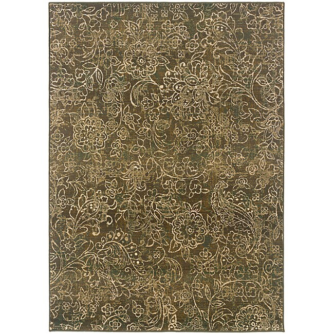 "Sydney Brown/Beige Transitional Floral Area Rug (9'9"" x 12'2"") - Thumbnail 0"
