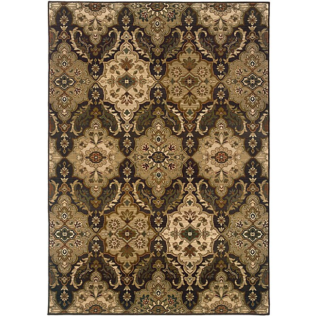 Sydney Brown/ Beige Transitional Area Rug (9'9 x 12'2) - Thumbnail 0