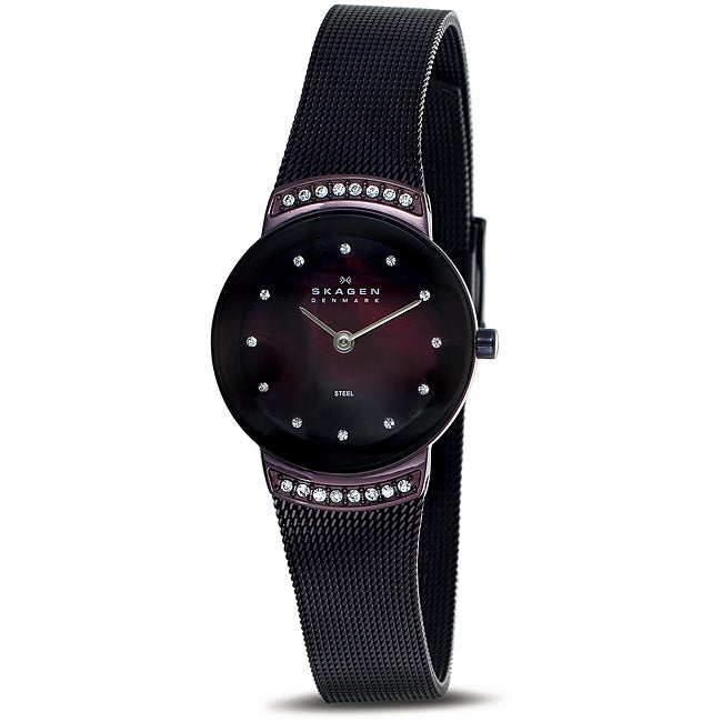 6f0f54b77 Shop Skagen Women's Brown Mother of Pearl Dial Watch - Free Shipping Today  - Overstock - 6652391