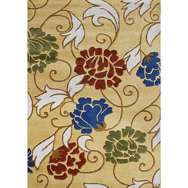 Alliyah Handmade Honey Gold New Zealand Blend Wool Rug (8' x 10')