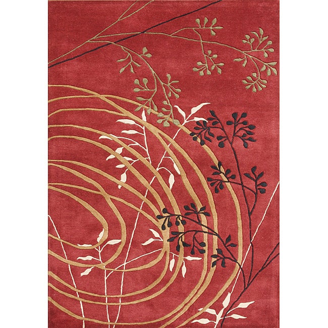 Alliyah Handmade Poppy Red New Zealand Blend Wool Rug (8' x 10')