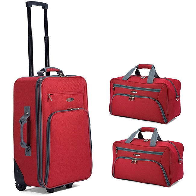 Benzi Red 3-piece Carry-on Luggage Set