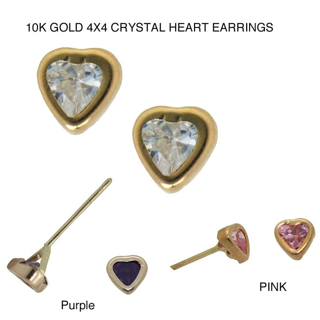Gioelli 10k Gold 4x4 Cubic Zirconia Heart Earrings