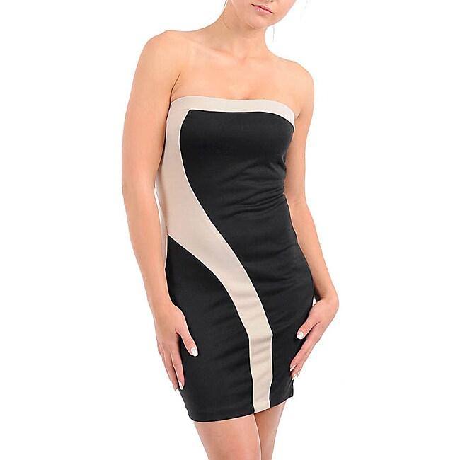 Stanzino Women's Black/ Taupe Strapless Dress