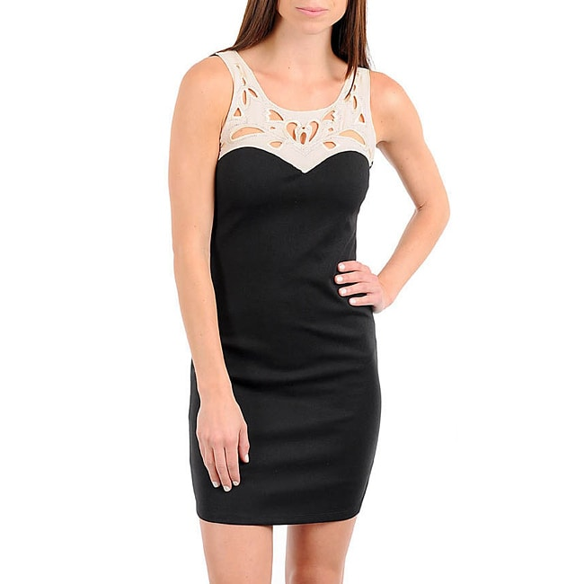 Stanzino Women's Black/ Beige Cut-out Neckline Dress