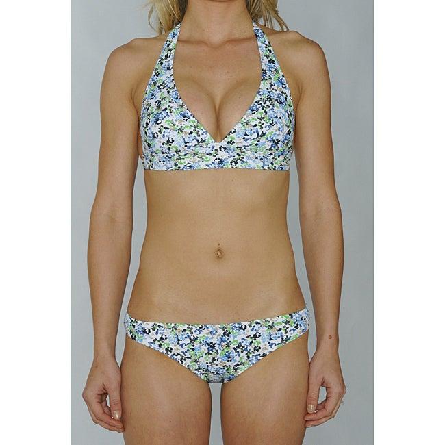 Island World Blue Floral Junior's Halter & Hipster Bikini Bottom