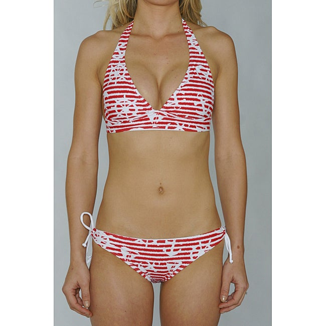 Island World Juniors 'Red Nautical' Halter and Keyhole Bottom Bikini
