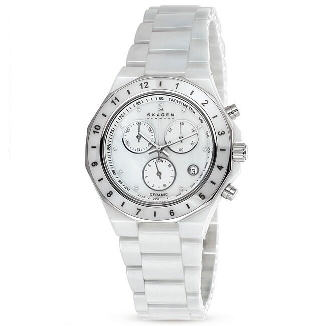 Skagen Women's Ceramic Round White Bracelet Watch