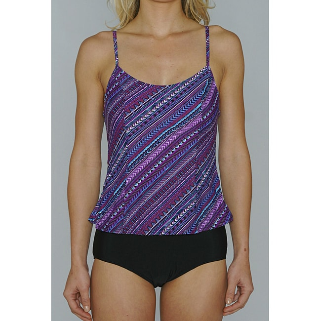 Island Love Young Missy 'Aztec Stripe' Faux Tankini Swimsuit