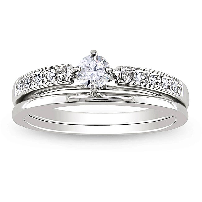 Miadora 10k White Gold 1/4ct TDW Diamond Bridal Ring Set (H-I, I2-I3)