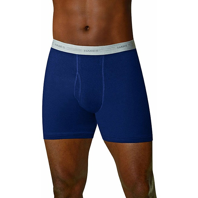 Hanes Men's Exposed Waistband Blue Boxer Briefs (Park of 4)
