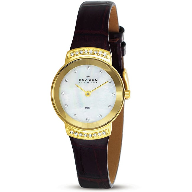 Skagen Women's Mother of Pearl Brown Leather Strap Watch