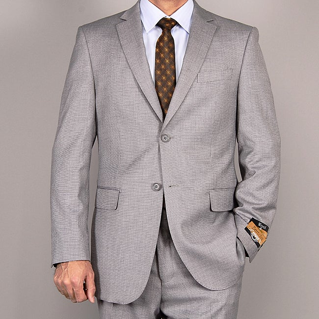 Men's Light Gray Wool/ Silk Suit