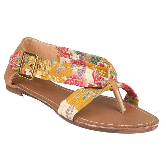 Neway by Beston Women's 'Zual' Yellow Floral Sandals