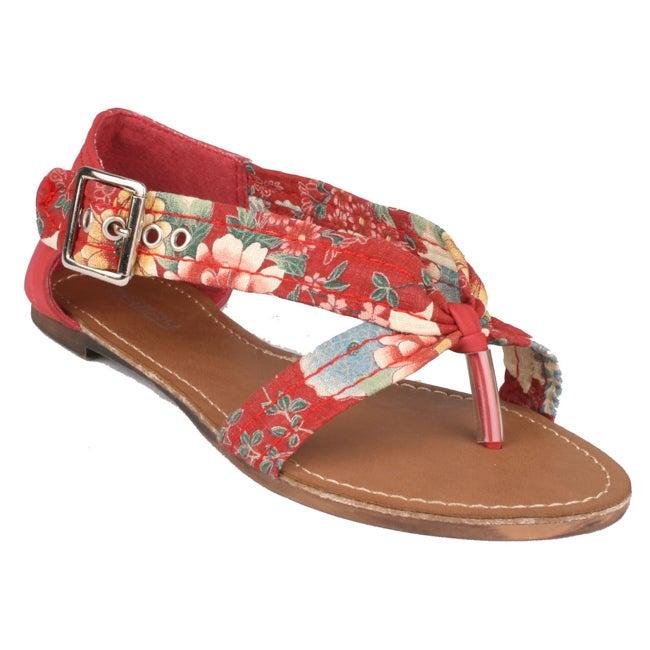 Neway by Beston Women's 'Zual' Red Floral Sandals