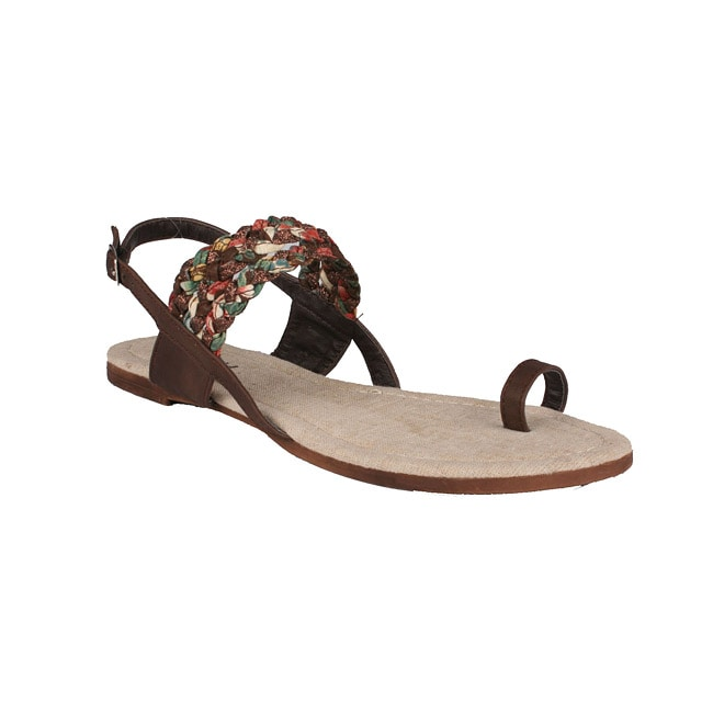 Neway by Beston 'Halona' Women's Brown Toe-Loop Flat Sandals