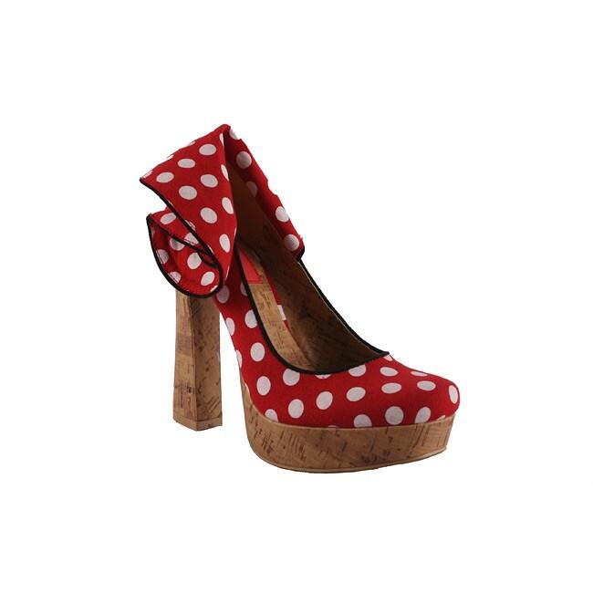 Riplay by Beston Women's 'Minka-05' Red Polka-dot Platforms