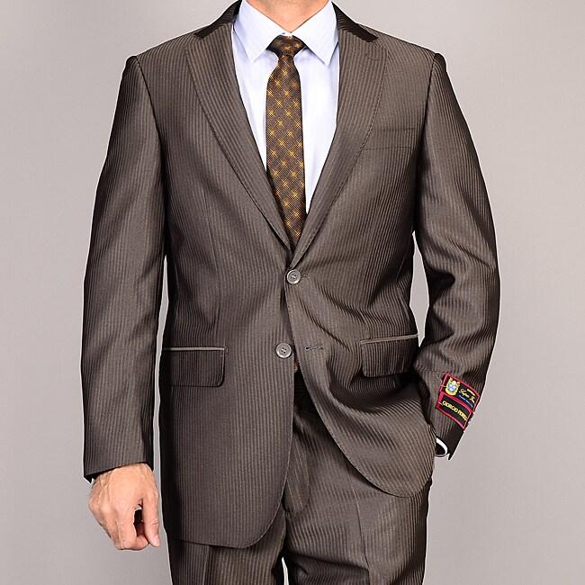 Men's Brown Striped Suit