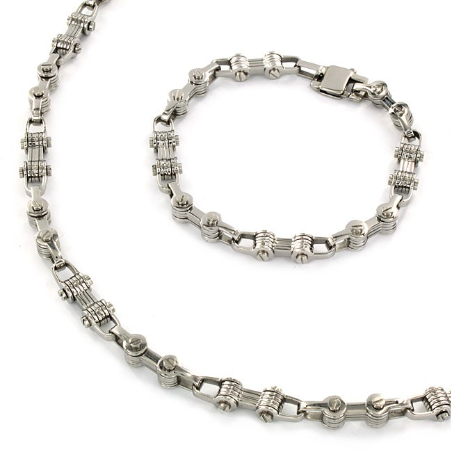 Stainless Steel Bicycle Chain Bracelet and Necklace Set