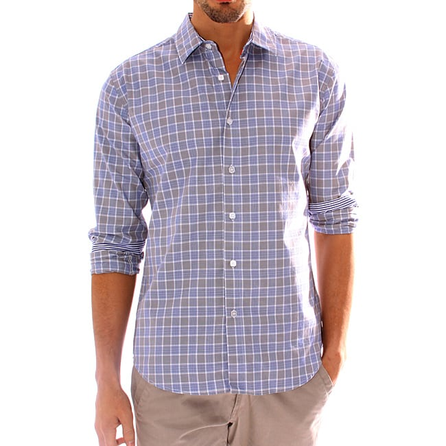 191 Unlimited Men's Long-Sleeve Gray Plaid Woven Shirt