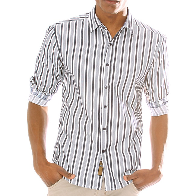 191 Unlimited Mens Wide Striped Woven Shirt