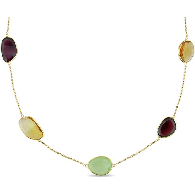 Miadora 18k Yellow Gold 87 3/4ct TGW Multi-gemstone Fashion Necklace