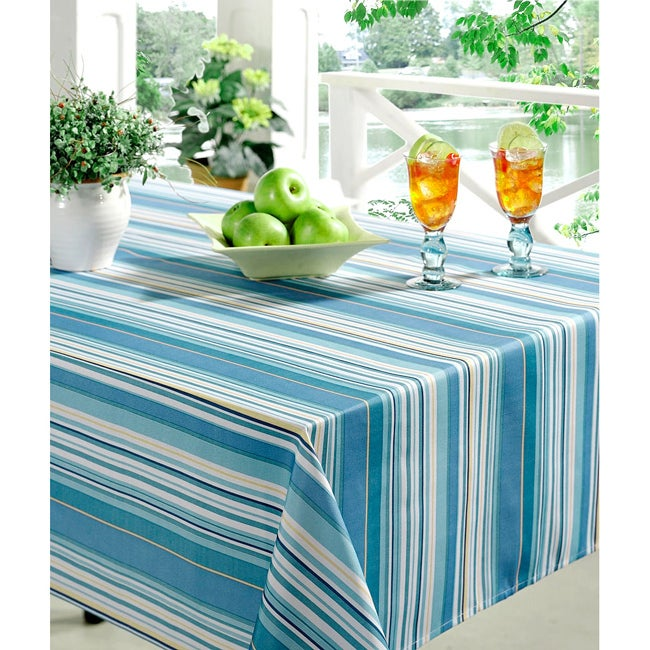 Technicolor Stripes Print 60x84-inch Indoor/Outdoor Rectangular Tablecloth