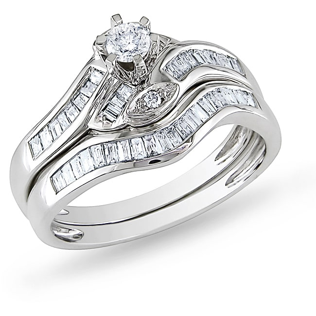 Miadora 14k White Gold 1/2 CT TDW Diamond Bridal Ring Set (G-H, I2-I3) - Thumbnail 0