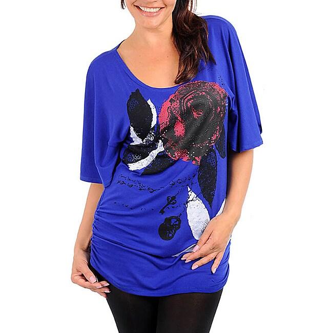 Stanzino Women's Plus-size Royal Blue Floral Print Top
