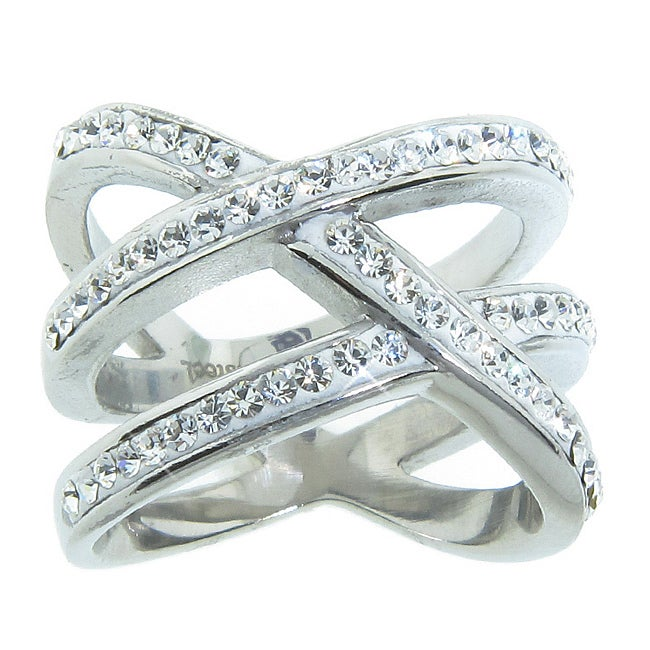 Eternally Haute Stainless Steel White Crystal Double 'X' Cocktail Ring