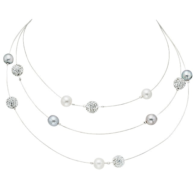 Pearlyta O Jewelry Sterling Silver Freshwater Pearl Layered Necklace (9-10 mm)