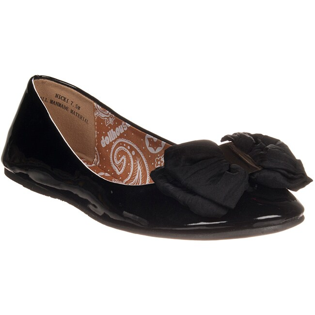 Riverberry Women's 'Nicki' Bow-detail Black Patent Ballet Flat