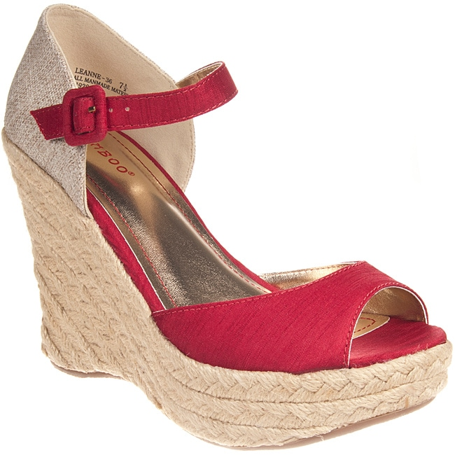 Riverberry Women's 'Leanne' Red Wedge Sandals