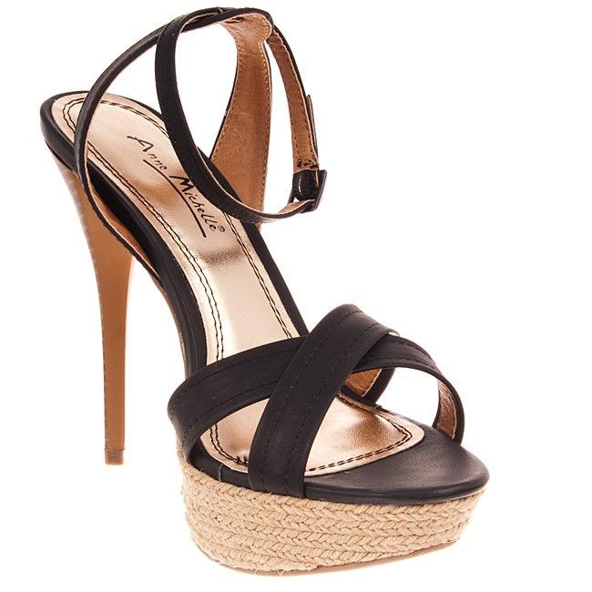 Riverberry Women's 'Dynamite' Black Ankle Strap Stilettos