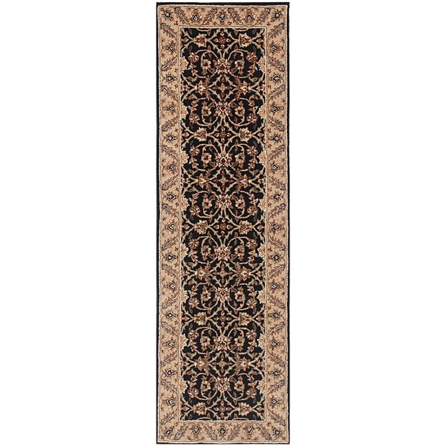 Hand-tufted Black/ Ivory Wool Rug (3' x 20')