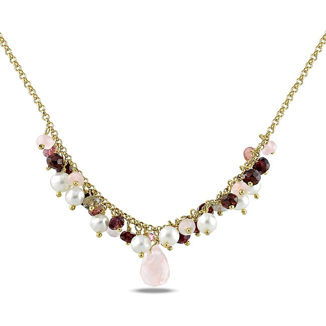 Gold/ Silver 12ct TGW Multi-gemstone and FW Pearl Necklace (5-5.5 mm)