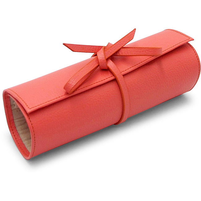 Morelle Tara Coral Leather Jewelry Roll