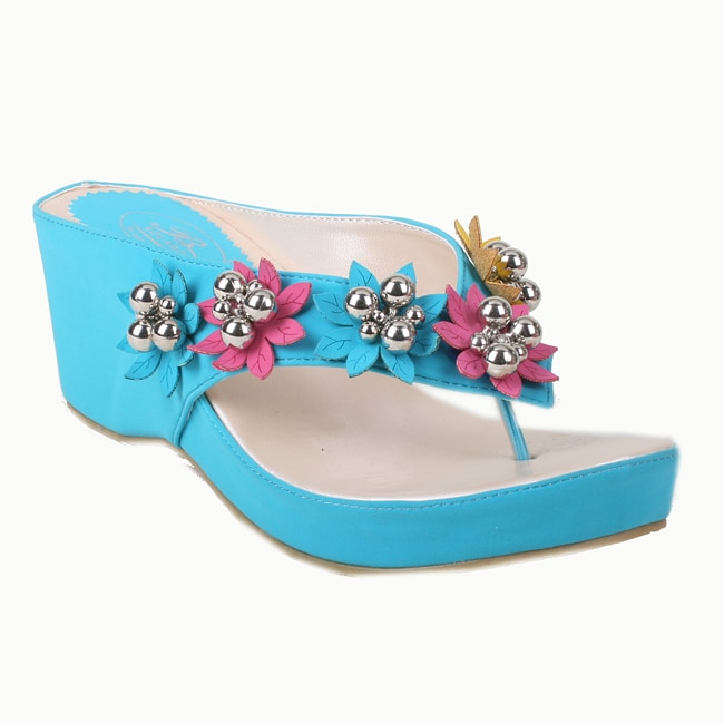 Bolaro by Beston Women's Turquoise Flower Wedged Thong Sandals