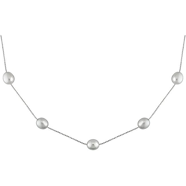 14-karat White-gold 18-inch Gray AAA Freshwater Pearl Necklace