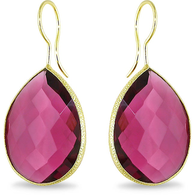 Miadora 22k Gold Overlay 28ct TGW Rhodolite Dangle Earrings