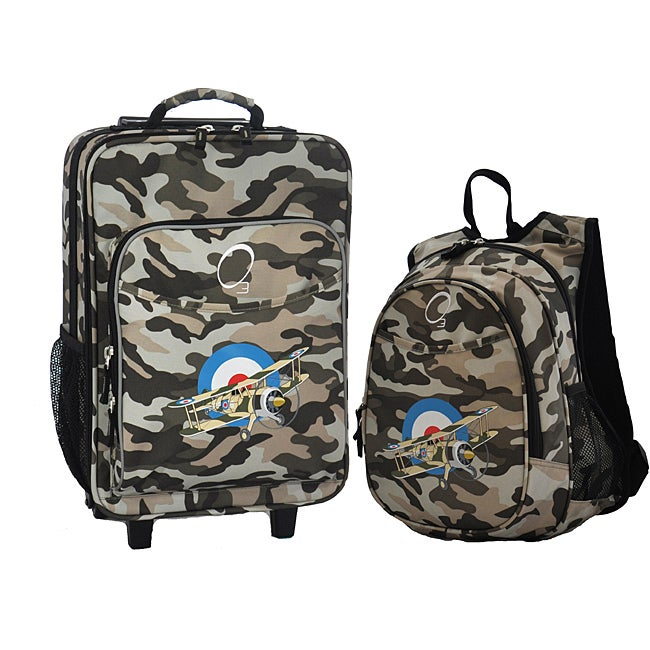 """O3 Kids """"Camo Airplane"""" Pre-School 2-piece Backpack and Suitcase Carry On Luggage Set"""